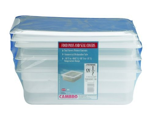 Cambro Set of 3 Translucent Food Pans and Seal Covers GN 1/2 Size, 4 Inch Deep by Cambro