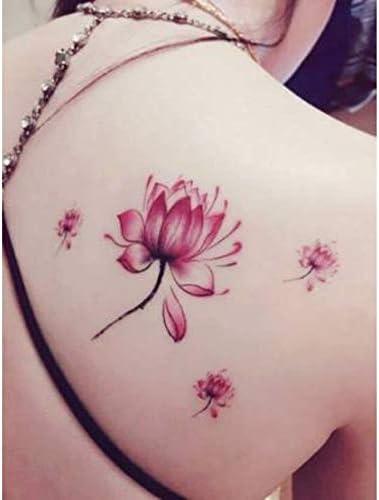 ruofengpuzi Etiqueta engomada del tatuaje Pequeñas Y Frescas Lotus ...