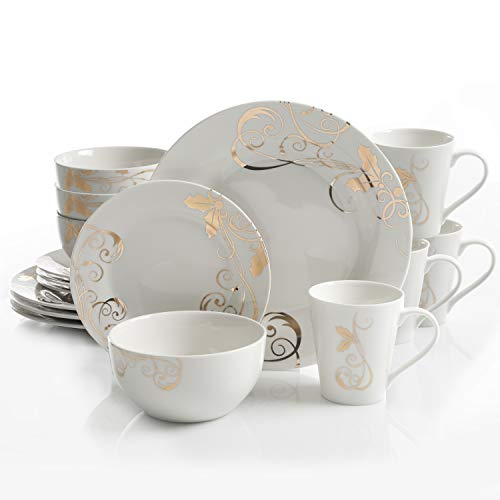 Gibson Seasonal Gold 16 PC Dinnerware Set, Serving, Porcelain (Dish White And Set Gold)