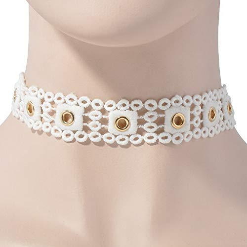 Hebel Vintage Black Retro Choker Wide Collar Necklace Jewelry Lace Flower Pendant | Model NCKLCS - 35400 | Cherry Satin Gold Pendant