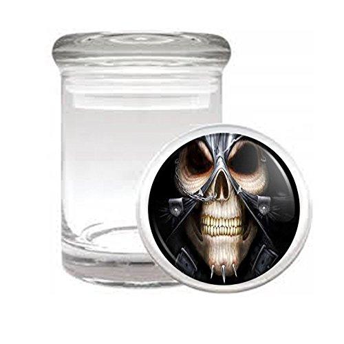 "Medical Glass Stash Jar Skeleton Death Skull S6 Air Tight Lid 3"" x 2"" Small Storage Herbs & Spices"