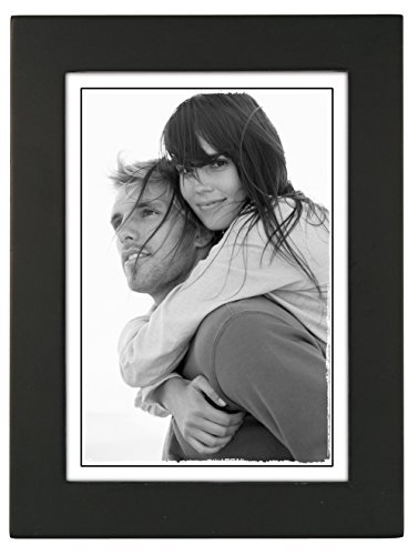 5x7 Black Wood Picture Frame – Made to Display Pictures 5x7 – Wide Molding, Real Glass – Wall Mount or Table Top