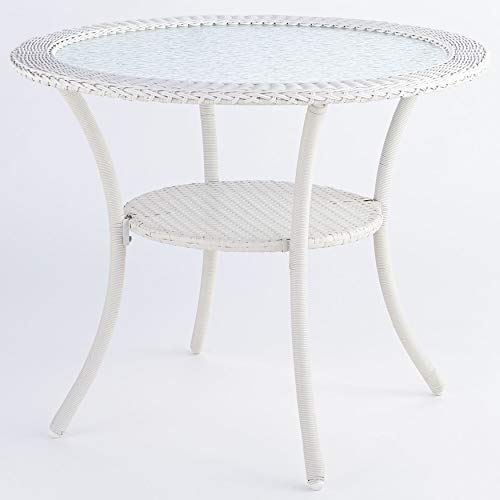 (BrylaneHome Roma All-Weather Resin Wicker Bistro Table - White)