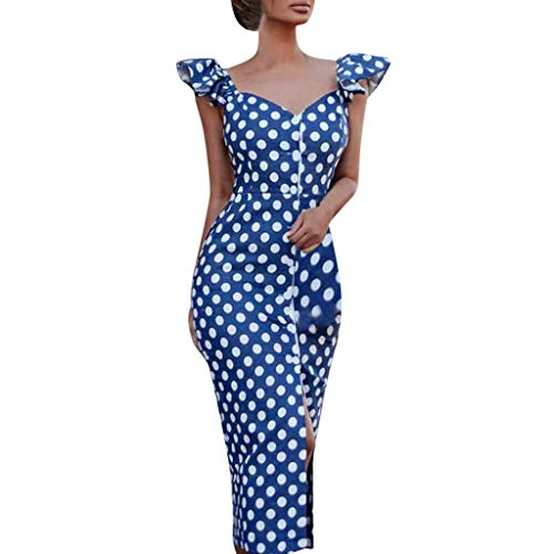 (MILIMIEYIK Blouse, Women's Rouched Sweetheart Neckline Stretch Ity Bodycon Dress, Blue dot, L)