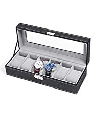 NEX Watch Box, Watch Case with Jewelry Storage Oraganizer, Black