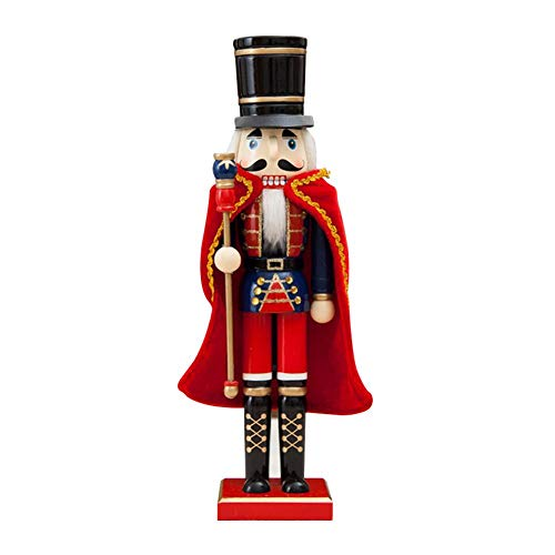Wooden Nutcracker Doll, Christmas Ornament Soldier King with Cloak Shape, 15 Inch Handmade Wood Crafts Puppets Decoration, Holiday Decoration Handicraft Gift for Party Home Decoration Desktop Decor