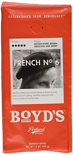 Boyd's Coffee Ground Coffee, French No. 6, Dark Roast, 12 Ounce Bag (Pack of 6) from Boyds Coffee