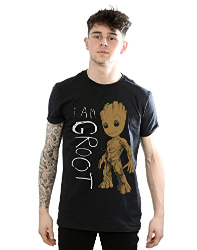 Marvel Men's Guardians of The Galaxy I Am Groot Scribbles T-Shirt X-Large Black