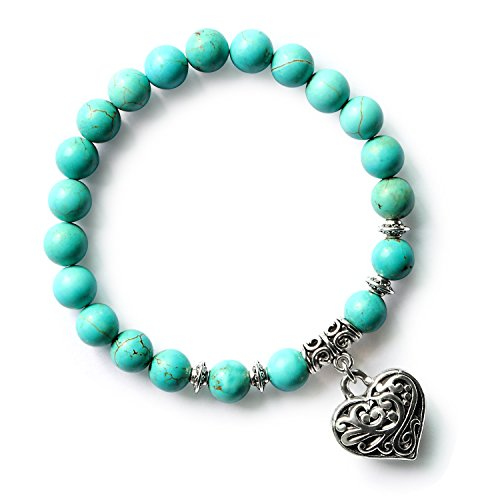 MHZ JEWELS Turquoise Beaded Heart Charm Bracelets Natural Gemtone Beads Vintage Chakra Bracelet for Women Girls