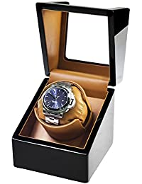 Automatic Single Watch Winder for Rolex with Quiet Motor,Premium Solid Wood Exterior and Soft Flexible Watch Pillows of Brown Leather