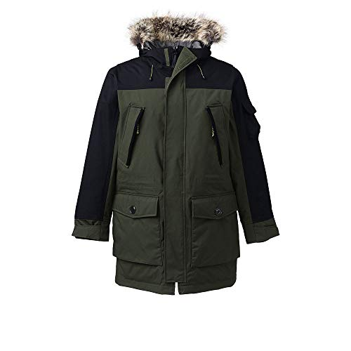 Lands' End Men's Expedition Parka, XXL, Deep Herb Green Faux Fur