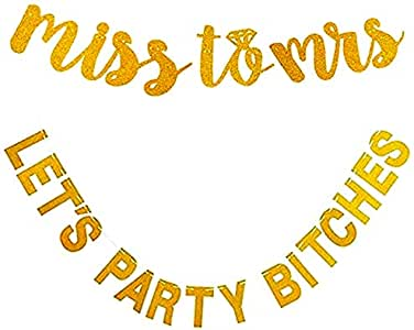 Gold Miss to Mrs Bachelorette Party Decorations Banner 2 Pack (Pre-Strung) - Hen Party Decorations Banner Sign for Bridal Shower and Bridal Party Supplies and Accessories.