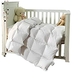ROSE FEATHER Toddler/Travel/Crib Goose Down Comforter Duvet/Blanket Multifunctional,100% Organic Cotton Hypoallergenic & Washable Unisex Kids,All Season,White 41x48