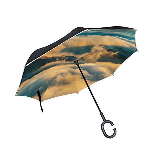 Summit Canopy Rain Double (RH Studio Inverted Umbrella Mountain Summit Clouds Large Double Layer Outdoor Rain Sun Car Reversible Umbrella)