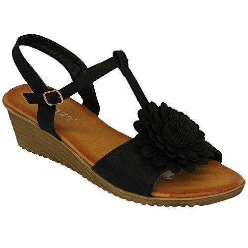 Fleurs Femmes Compensé Ouvert Sandales Bout Chaussures Boucle cL4j5RqSA3