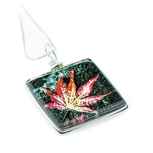 Japanese Maple Leaf Necklace, Handmade Glass Pendant on 18