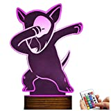 Novelty Lamp, 3D LED Lamp Bull Terrier Night Light Optical Illusion, USB Powered Remote Control Changes The Color of The Light, Bedroom Decoration Lighting for Children's, Ambient Ligh