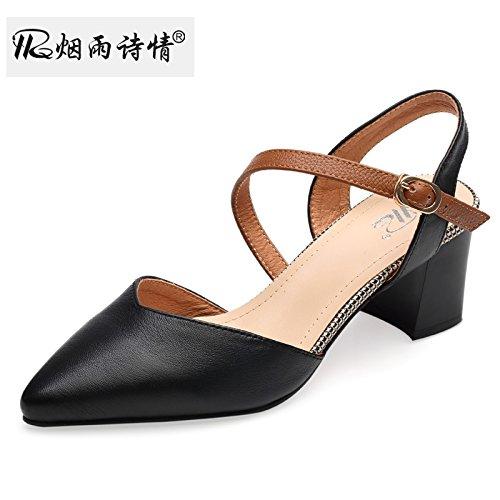 Hueca Zapatos De Media black De KPHY Zapatos Sandalias Verano Mujer Tacon Baotou De Señalado Grueso U1aq78