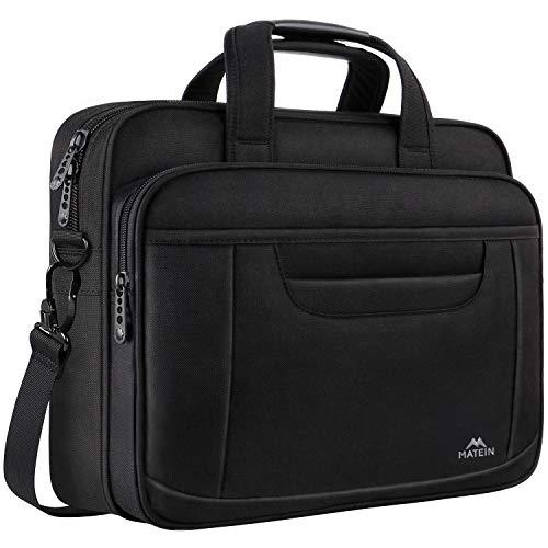 MATEIN Laptop Briefcase, 15.6 Inch Laptop Bag, Business Office Bag for Men Women, Stylish Nylon Multi-Functional Shoulder Messenger Bag for Notebook Computer MacBook Acer HP Dell Lenovo, Black ()