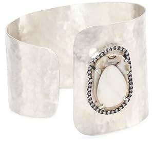 "Jordan Alexander ""Slice"" Sterling Silver and White Pearl Slice and Diamond 'C' Cuff Bracelet"