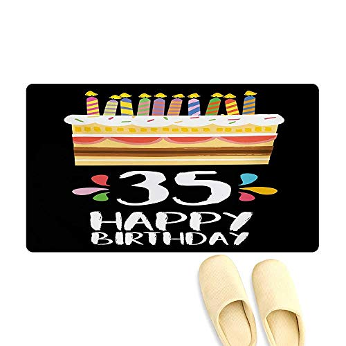 Bath Mat,Celebration Card Design Thirthy Five Years Old Fun Art Style Cake Candles,Door Mat Increase,Multicolor,16