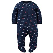 Carter's Baby Boys' Cotton Zip-Up Sleep & Play (6 Months, Navy Sports)