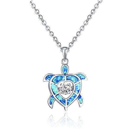 JO WISDOM 925 Sterling Silver Dancing Diamond Cubic Zirconia Blue Fire Opal Sea Turtle Pendant Necklace
