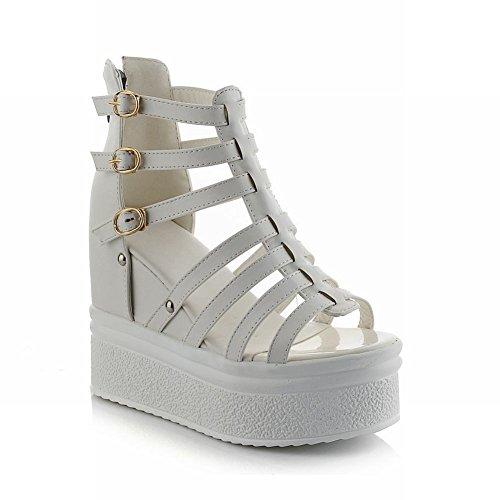 Carol Chaussures Mode Femmes Boucle Gladiateur Style Charmes Chic Zip Plateforme Talon Haut Cales Sandales Blanc