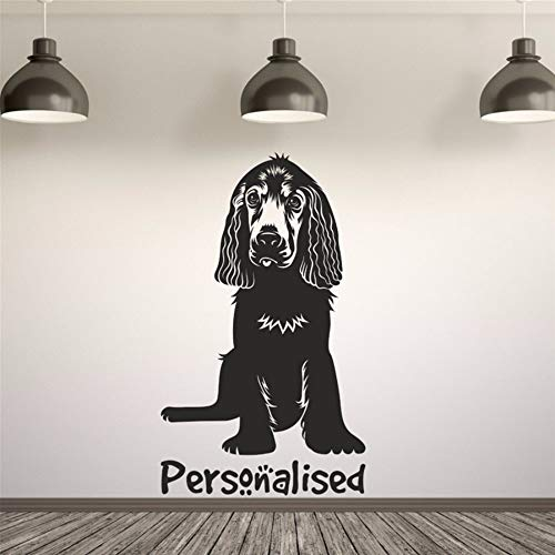 (EASTONE Springer Cocker Spaniel Personalised Pet Name Wall Decal Sticker Art Any Colour Nursery Kids Room Wall Decor)