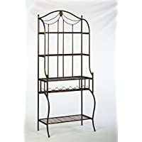 Hillsdale Camelot Bakers Rack, Black with gold highlights