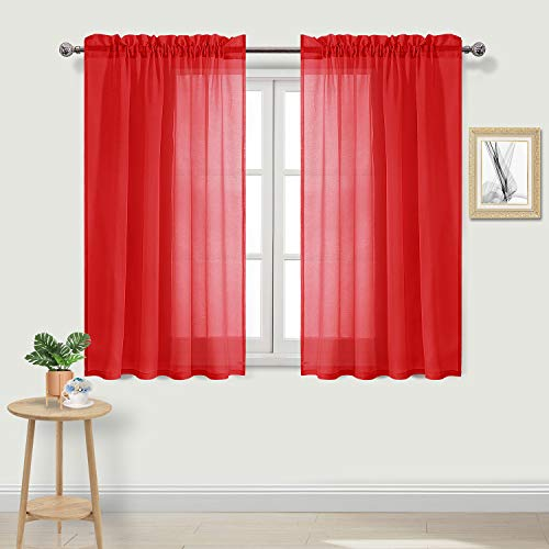 DWCN Red Sheer Curtains Faux Linen Rod Pocket Kitchen Curtains Voile Sheer Curtain Panels, 52 x 45 inches Length 2 Panels Set ()