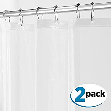 mDesign PEVA 3G Shower Curtain Liner (PACK of 2), PVC FREE, Eco Friendly, MOLD & MILDEW Resistant, ODORLESS - No Chemical Smell, 72  x 72  - Clear