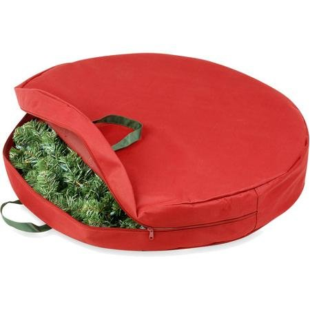 Honey-Can-Do 30'' Canvas Wreath Storage Bag, Red/Pine Green