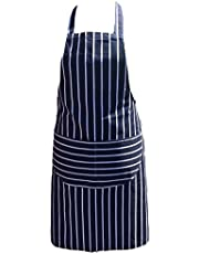 Chefs Apron Professional Quality Blue & White Butchers Kitchen Cooks Restaurant Bistro BBQ School College Double POCKETS 100% Cotton