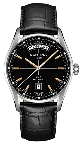 Certina DS 1 Automatic Day Date Black Dial Black Leather Ladies Watch C0064301605100