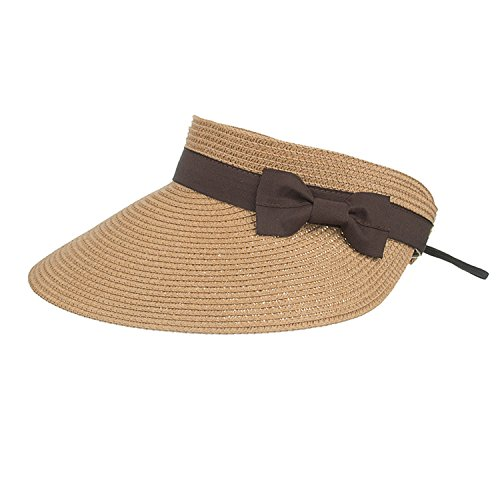 Womens UV Sun Protective Roll-Up Summer Visor Solid color wi