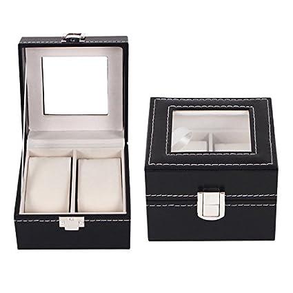 Caja de almacenamiento para relojes y joyas, organizador de piel
