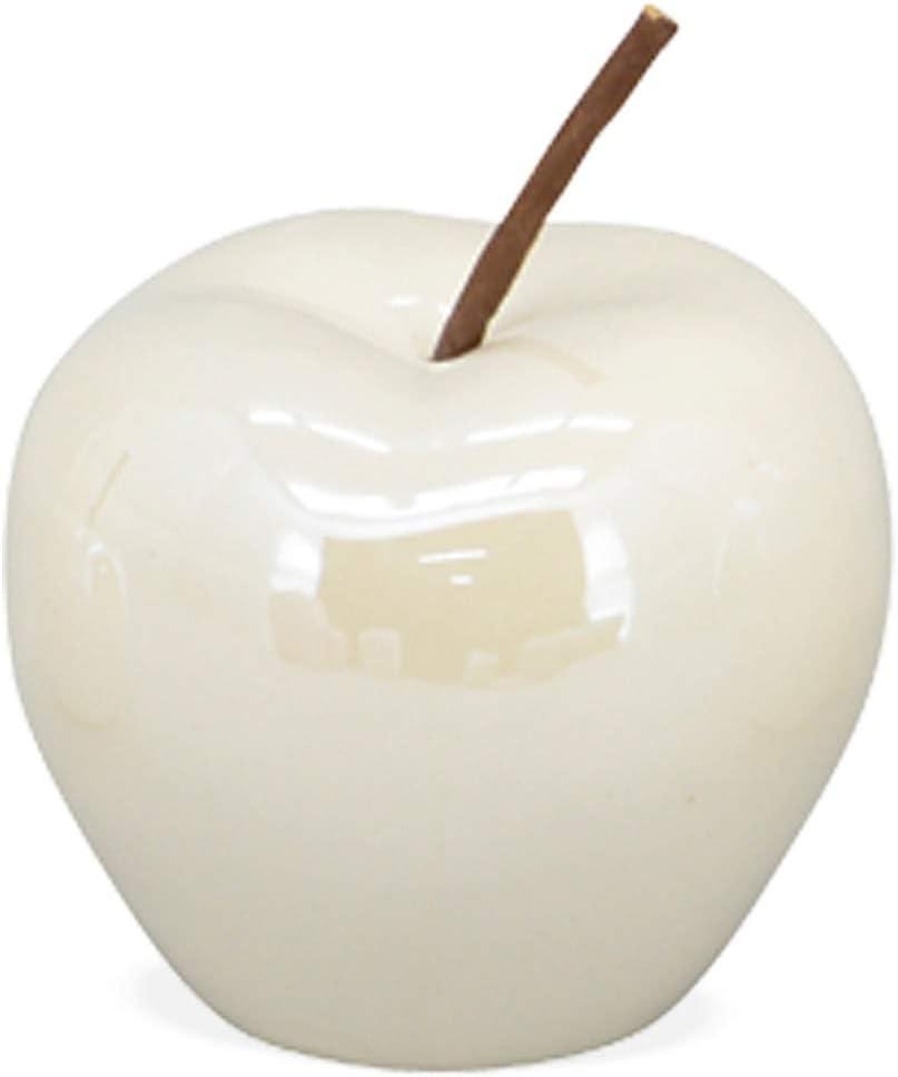 matches21 manzanas decorativas cerámica blanca brillante flexible mango decoración fruta escultura mesa decoración 1 unidad 3 tamaños, cerámica, 9,5 cm.: Amazon.es: Hogar