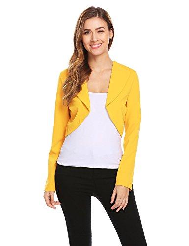 Crop Blazer (Soteer Women's Long Sleeve Open Front Cardigan Crop Jacket Yellow XX-Large)