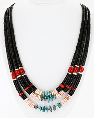 Large $380 Retail Tag Authentic 3 Strand Charlene Little Navajo Silver Graduated Heishi Turquoise and Coral Native American Necklace - Navajo Turquoise Necklace
