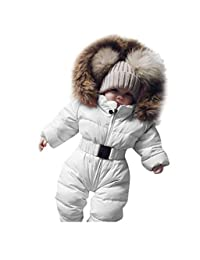 Kehen Unisex Baby Hoodies Puffer Jacket Jumpsuit Winter Warm Snowsuit Coat Romper with Fur Hooded