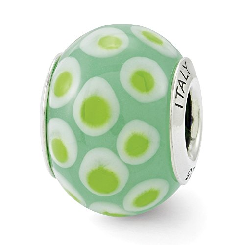 (925 Sterling Silver Charm For Bracelet Green/white Italian Murano Glass Bead Glas Fine Jewelry Gifts For Women For Her)