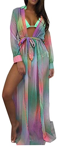 Split Chiffon Belt Womens Dress Front Open Floral Multicolour Maxi Beach Cromoncent Printed Uqw44
