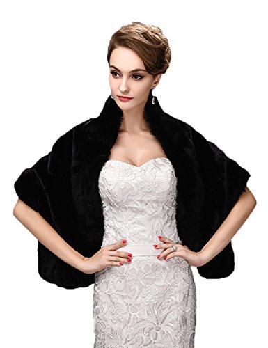 Black Faux Fur Adult Costumes Cape (Faux Fur Shawl Wraps Women Bride Wedding Evening Cape Stole Outwear Autumn Winter Black)