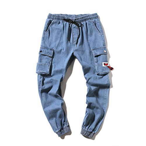 Summer New European and American Mens Multi-Pocket Casual Plaid Long Short, MmNote Blue -