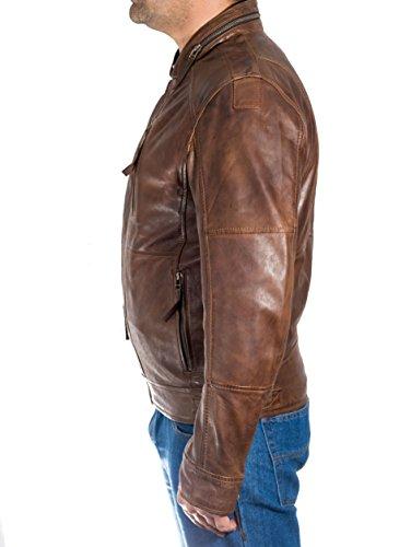 con Marr de cuello cuero de suave cierre para hombre Vintage Cazadora Slip Cera xfTq0w0Un