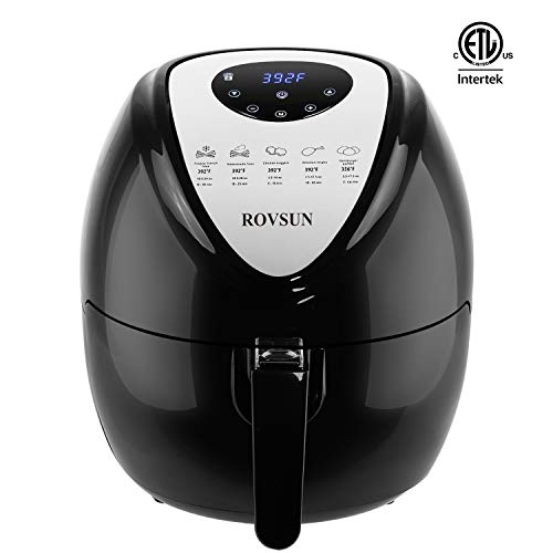 Cheap ROVSUN 7-in-1 Electric Air Fryer XL 5.6QT Capacity, 1800W Air Frying Technology with Temperature & Time Control, Removable Dishwasher Safe Basket, Includes Metal Holder and Cooking Tongs, ETL Listed