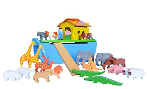 Wooden Noah's Ark Including 24 Chunky Animals by SRI Toys