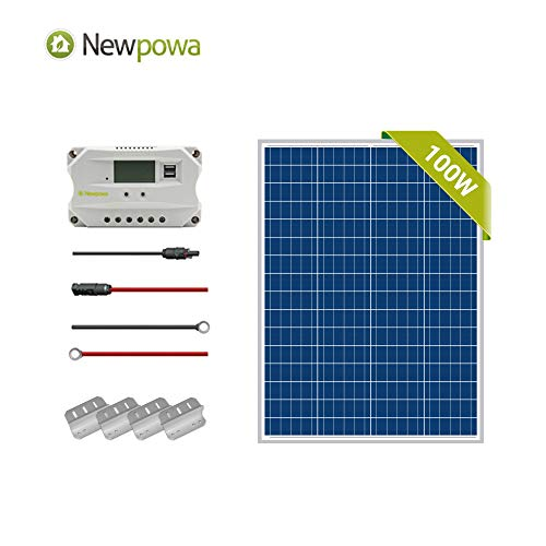 Newpowa 100W Watt Polycrystalline Solar Charge Starter kit Off Grid RV Marine