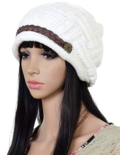 95df98922ec8 ELACUCOS Women Winter Beanie Cabled Checker Pattern Knit Hat Button ...